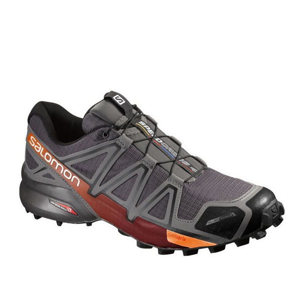 Image sur SOULIERS DE COURSE EN SENTIER SALOMON SPEEDCROSS 4 CS GRIS/ORANGE POUR HOMME