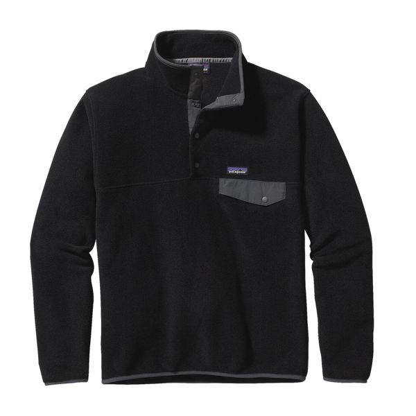 Image sur CHANDAIL DE SKI ALPIN PATAGONIA LIGHTWEIGHT SYNCHILLA SNAP-T FLEECE PULLOVER BLACK W/FORGE GREY POUR HOMME