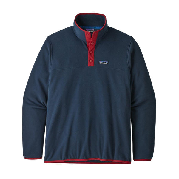 Picture of PATAGONIA ALPINE SKI SWEATER MICRO D SNAP-T FLEECE PULLOVER NEW NAVY W/CLASSIC RED FOR MEN