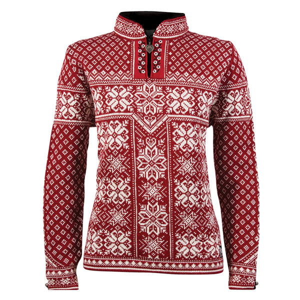 Image sur CHANDAIL DE SKI ALPIN DALE OF NORWAY PEACE FEM SWEATER REDROSE OFFWHITE POUR FEMME