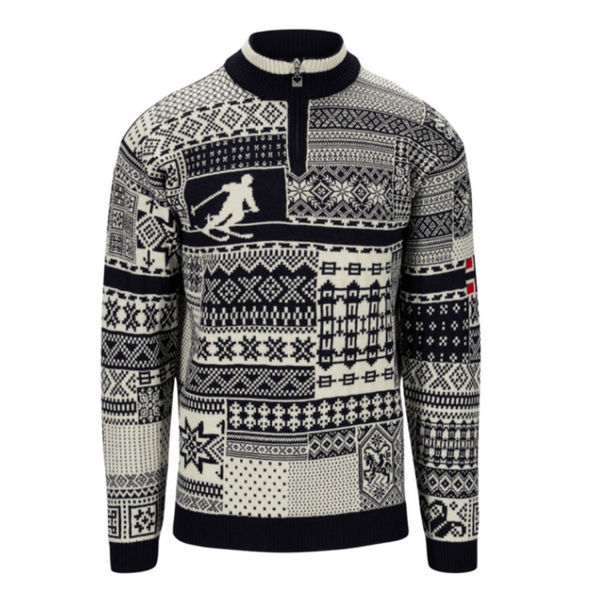 Picture of DALE OF NORWAY ALPINE SKI SWEATER OL HISTORY SWEATER NAVY OFFWHITE RASPBERRY FOR MEN