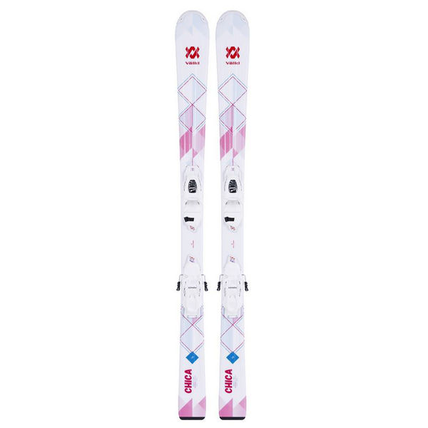 Picture of VOLKL ALPINE SKIS CHICA VMOTION + 4.5 VMOTION LADY WHITE/PINK 2018 FOR JUNIORS (WITH BINDINGS)