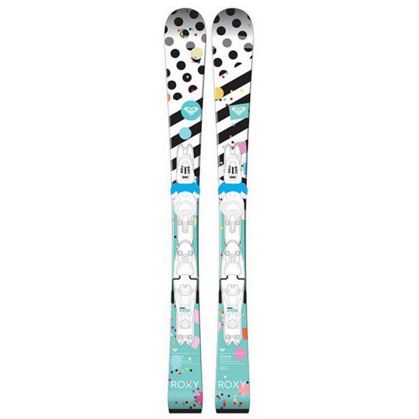 Picture of ROXY ALPINE SKIS BONBON MINI + KID-X TURQUOISE/WHITE 2017 FOR JUNIORS (WITH BINDINGS)
