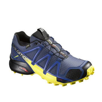 Picture of SALOMON TRAIL RUNNING SHOES SPEEDCROSS 4 GTX BLUE/YELLOW FOR MEN