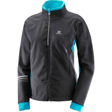 Image de MANTEAU DE SKI DE FOND SALOMON LIGHTING WARM SOFTSHELL NOIR/BLEU POUR FEMME