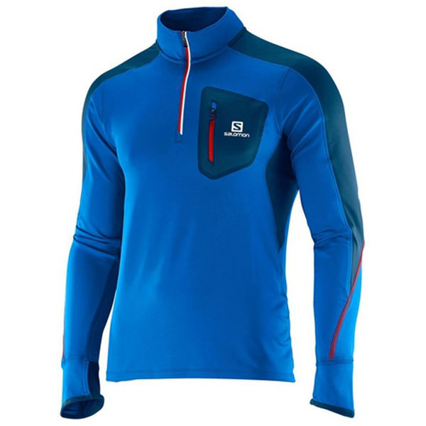 Picture of SALOMON RUNNING JERSEY TRAIL RUNNER WARM LS BLUE FOR MEN