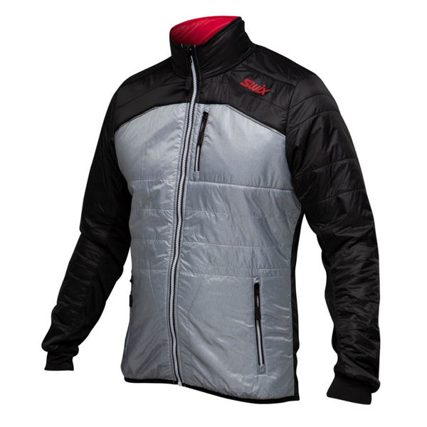 Picture of SWIX CROSS COUNTRY SKI JACKET MENALI QUILTED GREY/BLACK FOR MEN