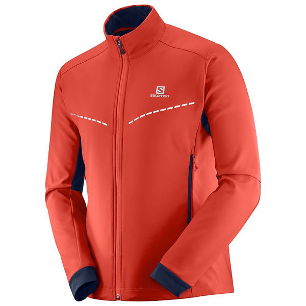 Picture of SALOMON CROSS COUNTRY SKI JACKET AGILE SOFTSHELL RED FOR MEN