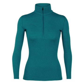 Picture of ICEBREAKER ALPINE SKI SWEATERS 250 VERTEX LONG SLEEVE HALF ZIP MOUNTAIN DASH TEAL FOR WOMEN