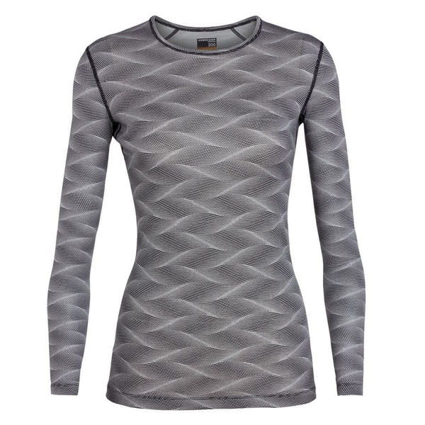 Picture of ICEBREAKER ALPINE SKI SWEATERS 200 OASIS LONG SLEEVE CREWE CURVE GREY FOR WOMEN