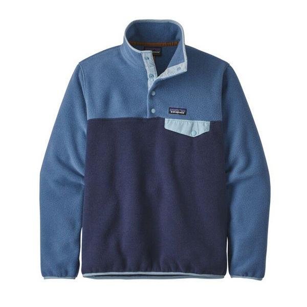 Image sur CHANDAIL DE SKI ALPIN PATAGONIA LIGHTWEIGHT SYNCHILLA SNAP-T FLEECE PULLOVER NEW NAVY W/WOOLLY BLUE POUR FEMME
