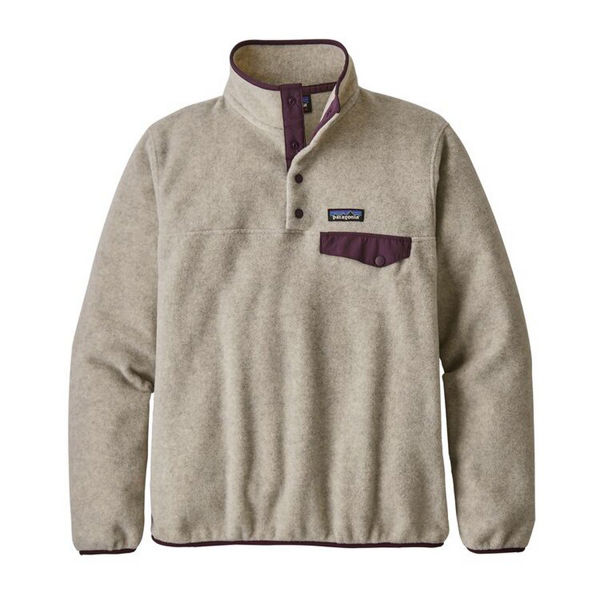Image sur CHANDAIL DE SKI ALPIN PATAGONIA LIGHTWEIGHT SYNCHILLA SNAP-T FLEECE PULLOVER OATMEAL HEATHER W/DEEP PLUM POUR FEMME