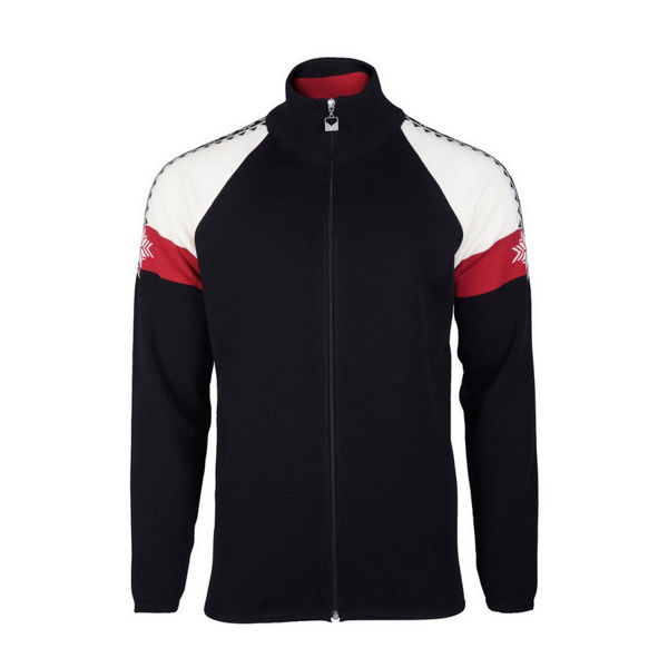 Picture of DALE OF NORWAY ALPINE SKI SWEATER GEILO BLACK/ OFF WHITE/ RED
