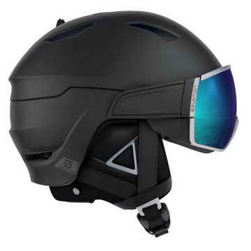 Picture of SALOMON ALPINE SKI HELMET  DRIVER + BLACK W/SILVER + SOLAR