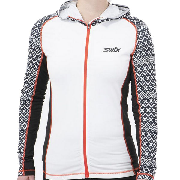 Picture of SWIX CROSS COUNTRY SKI SWEATER MYRENE FULL ZIP HOODY WHITE PRINT FOR WOMEN