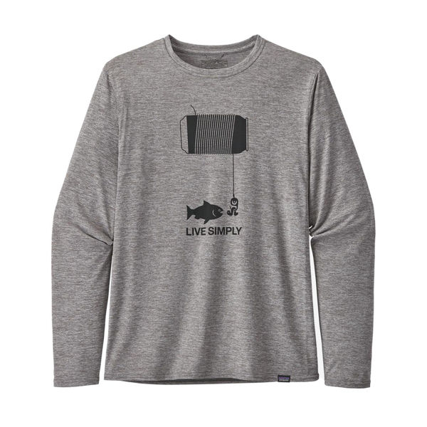 Picture of PATAGONIA RUNNING JERSEY CAPILENE COOL DAILY GRAPHIC LIVE SIMPLY HAPPY HOUR: FEATHER GREY FOR MEN