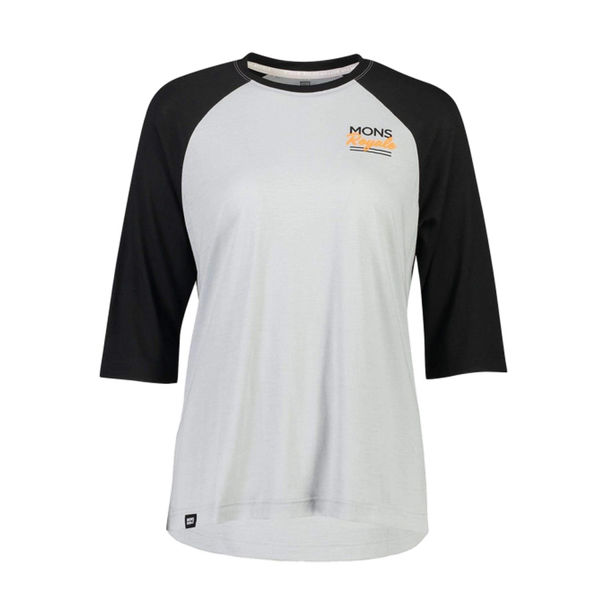 Picture of MONS ROYALE BIKE JERSEY TARN FREERIDE RAGLAN 3/4 BLACK/GREY FOR WOMEN