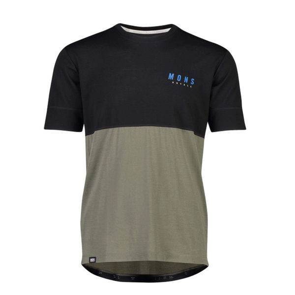 Picture of MONS ROYALE BIKE JERSEY CADENCE T BLACK/OLIVE FOR MEN