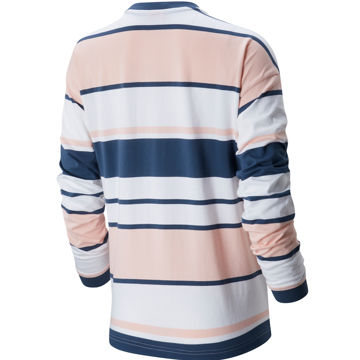 Picture of NEW BALANCE RUNNING JERSEY ATHLETICS PREP LONG SLEEVE STRIPE T STONE BLUE/PEACH SODA FOR WOMEN