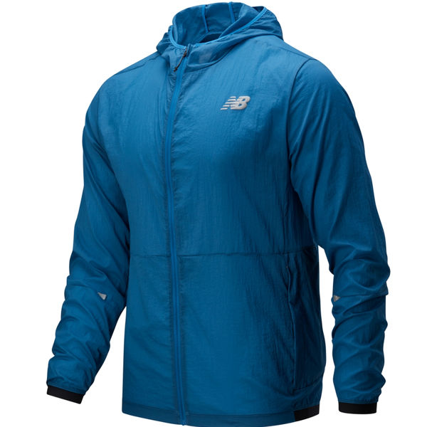 Image sur MANTEAU DE COURSE NEW BALANCE IMPACT RUN LIGHT PACK JACKET MAKO BLUE POUR HOMME