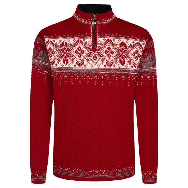 Picture of DALE OF NORWAY ALPINE SKI SWEATER BLYFJELL MASC SWEATER REDROSE OFFWHITE MOUNTAINSTONE FOR MEN