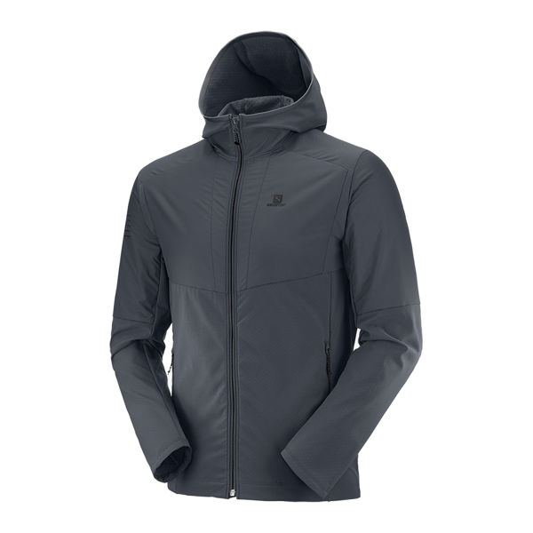 Picture of SALOMON CROSS COUNTRY SKI JACKET OUTLINE HYBRID HOODIE EBONY FOR MEN