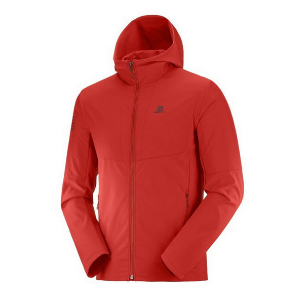 Picture of SALOMON CROSS COUNTRY SKI JACKET OUTLINE HYBRID HOODIE GOJI BERRY FOR MEN