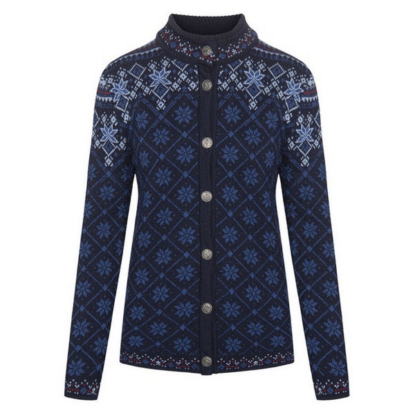 Picture of DALE OF NORWAY ALPINE SKI SWEATERS BRIMSE FEMININE JACKET NAVY INDIGO BLUE SHADOW REDROSE FOR WOMEN