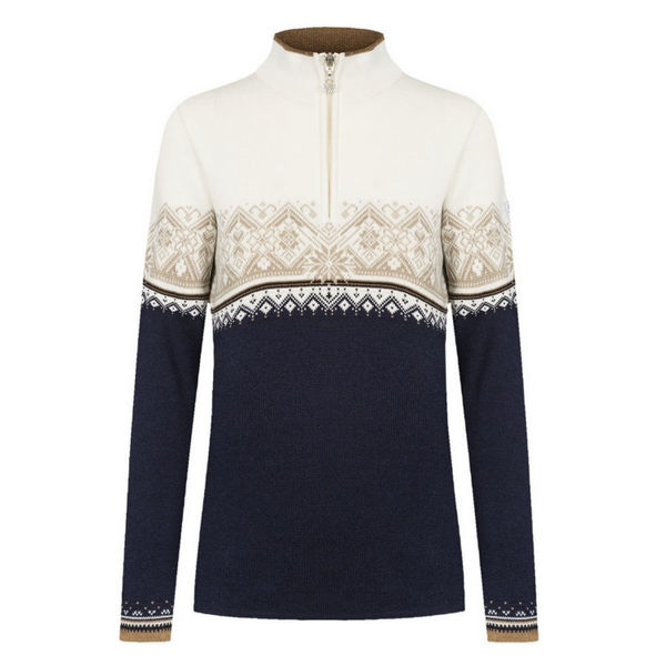 Picture of DALE OF NORWAY ALPINE SKI SWEATERS MORITZ FEM SWEATER NAVY BRONZE BEUGE OFFWHITE FOR WOMEN