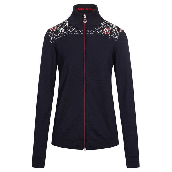 Image sur CHANDAIL DE SKI ALPIN DALE OF NORWAY TRONDHEIM FEM JACKET NAVY OFFWHITE RED POUR FEMME