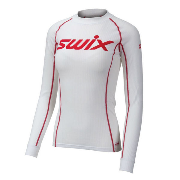 Picture of SWIX CROSS COUNTRY SKI SWEATER RACEX BODYW LS WHITE/RED FOR WOMEN