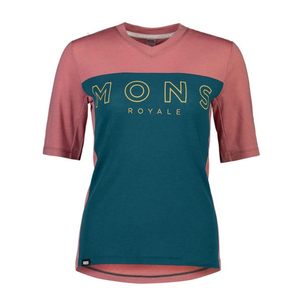 Picture of MONS ROYALE BIKE JERSEY REDWOOD ENDURO VT DEEP TEAL/PINK CLAY FOR WOMEN