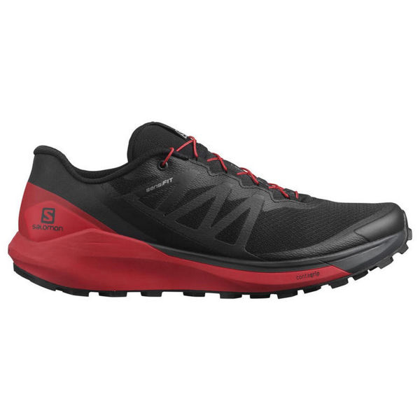 Picture of SALOMON TRAIL RUNNING SHOES SENSE RIDE 4 BLACK/RED FOR MEN