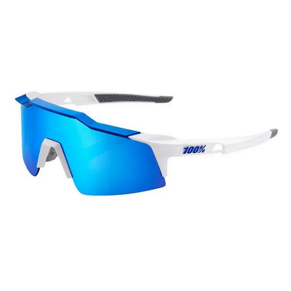 Image sur 100% SPEEDCRAFT XS MATTE WHITE/BLUE MULTILAYER LENS