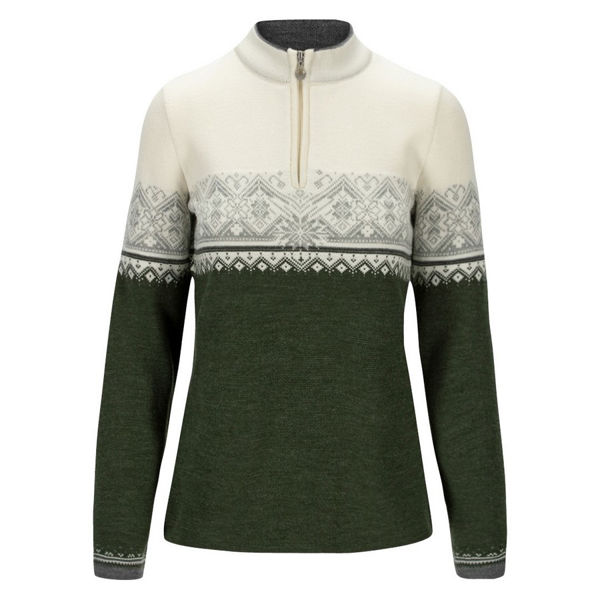 Picture of DALE OF NORWAY ALPINE SKI SWEATERS MORITZ DARK GREEN LIGHT GREY WHITE FOR WOMEN