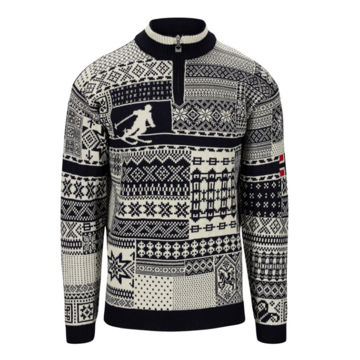 Image de CHANDAIL DE SKI ALPIN DALE OF NORWAY OL HISTORY SWEATER NAVY OFFWHITE RASPBERRY POUR HOMME