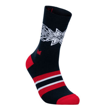Picture of DALE OF NORWAY SOCKS OL SPIRIT CREW CUT NAVY RASPBERRY OFFWHITE